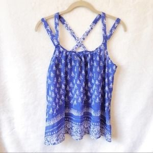Express Blue with Pattern Strappy Tank